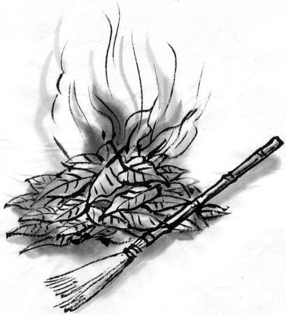 fallen leaves: The burning fallen leaves Stock Photo