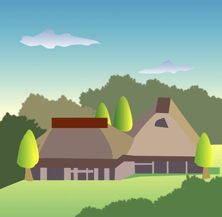 thatched: Thatched farmhouse
