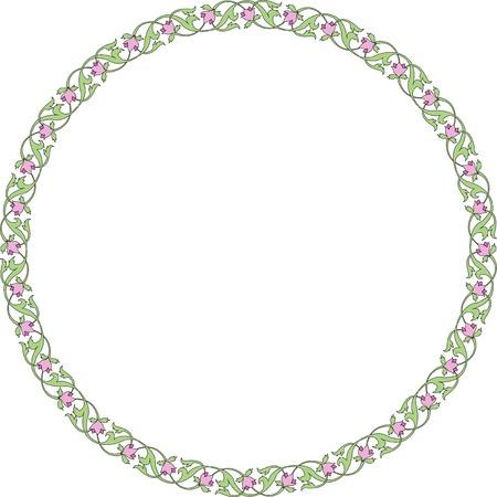 アラベスクの円形飾りフレーム 写真素材