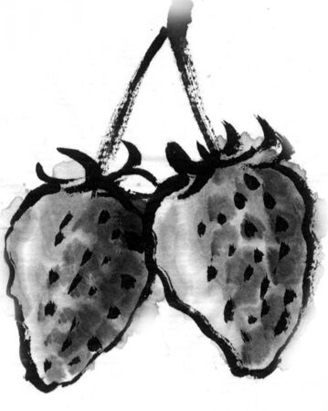 ink and wash: Strawberry