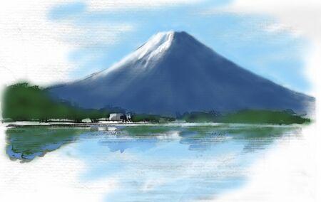 primrose: Mt. Fuji painting