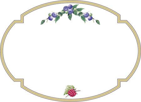 ブルーベリーとラズベリーの装飾的なフレーム
