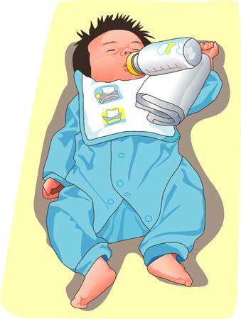 childcare: Drinking milk Stock Photo