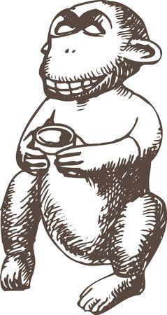 猿の農業神 写真素材 - 46240553