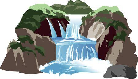 mountain stream: Two-stage waterfall Stock Photo