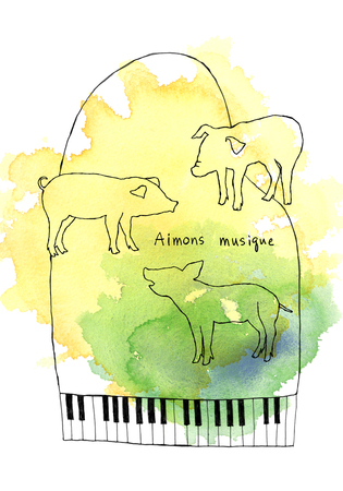rythm: Piano and pig