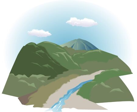 mountain view: Mountains and rivers