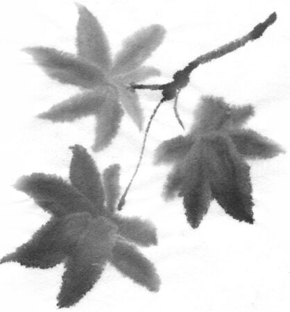 ink and wash: Autumn leaves