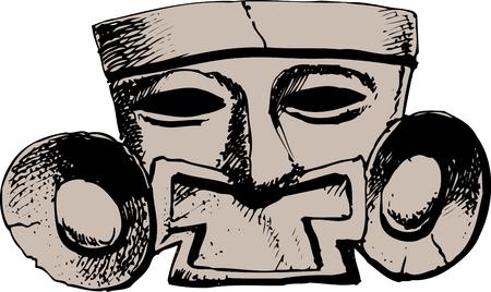 テラコッタ色のマスク