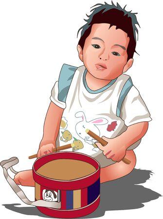 childcare: Drum beating Stock Photo