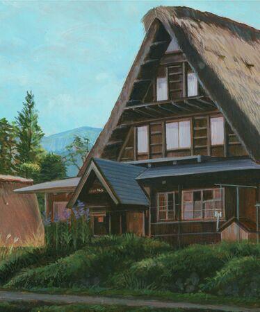五箇山合掌造りの家 写真素材