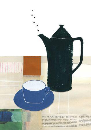 コーヒー ポットとカップ 写真素材 - 46834004