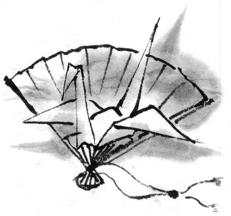 sumi: Folding crane