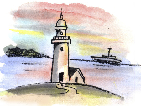 ink and wash: Lighthouse
