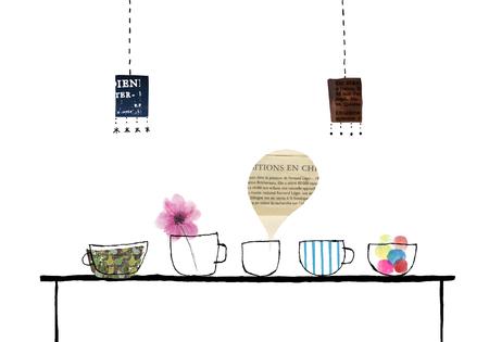 pendant lamp: Lined soup cup