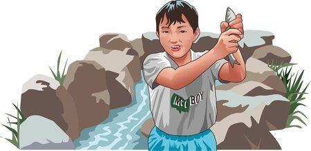 childcare: Catching fish Stock Photo