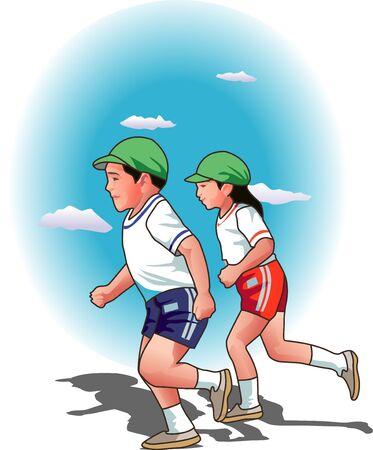 meet up: Foot race Stock Photo
