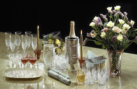 has been: Table drink set for the party has been setting