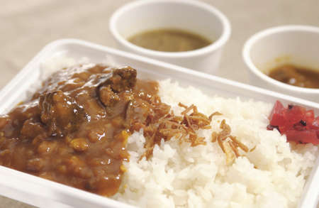 takeout: The take-out lunch of rice with curry 2 dishes