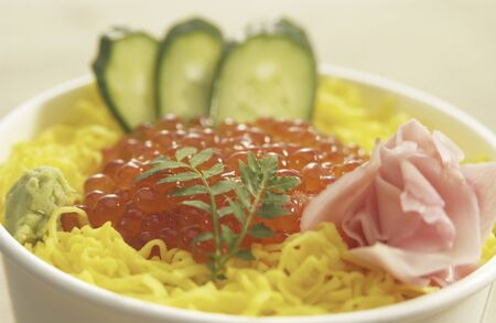 takeout: Take-out lunch of salmon roe and shredded egg