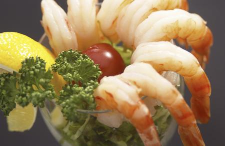 Up of shrimp salad Stock Photo