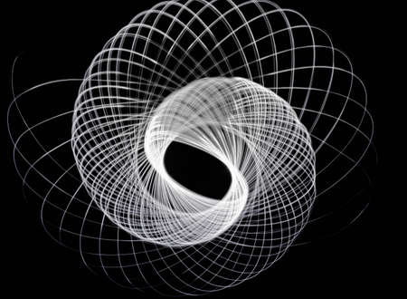 trajectory: Light trace of the three-dimensional feeling full of three-dimensional curve Stock Photo