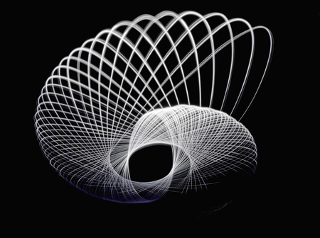 trajectory: Light trace of three-dimensional curve seen somewhat from an oblique Stock Photo