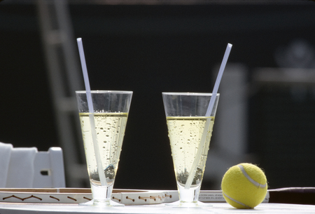 Two servings of drink which is prepared in a corner of the tennis field 写真素材