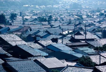 hokuriku: Landscape continuing Kanazawa private house overlapping roof tiles Stock Photo