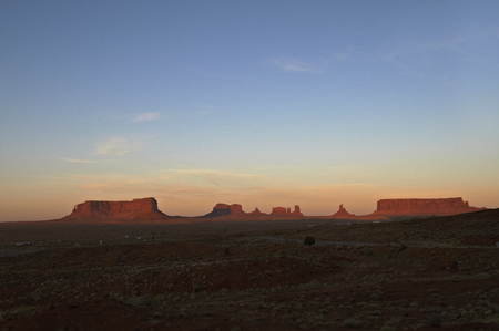 setting  sun: Landscape of the monument with increased redness lit by the setting sun