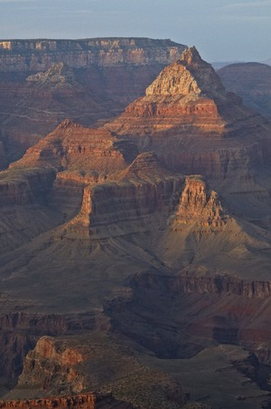 butte: Butte group telephoto sunset from Grand Canyon Mather Point