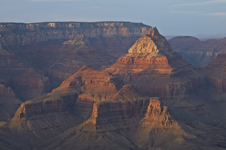telephoto: Butte group telephoto sunset from Grand Canyon Mather Point