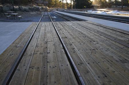 railway points: Reruuei end point of the Santa Fe Railway Stock Photo