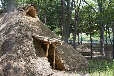 dwellings: Restore the Kurihara ruins was vertical hole-type dwellings Stock Photo
