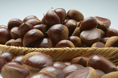 has been: Real-up of chestnut that has been piled on bamboo basket Stock Photo