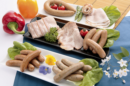 ascetic: Additive-free ham and sausages Stock Photo