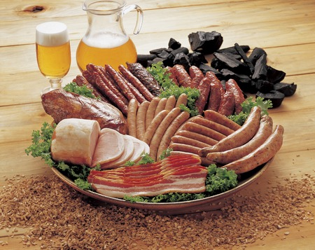 krakow sausage: Processed meat Stock Photo