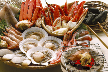king salmon: Seafood beach grilled set