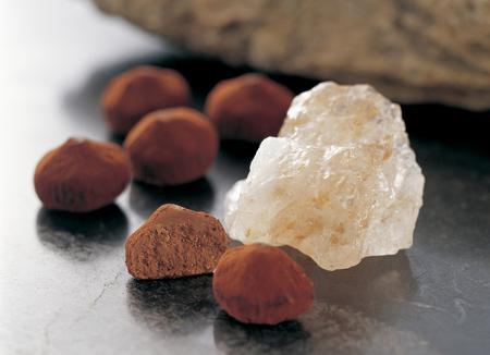 rock salt: Rock salt and baked chocolate Stock Photo