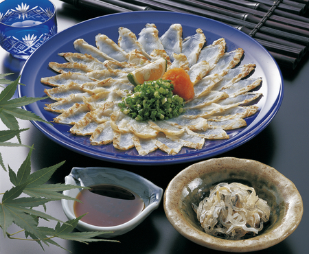 broiled: Broiled fugu sashimi