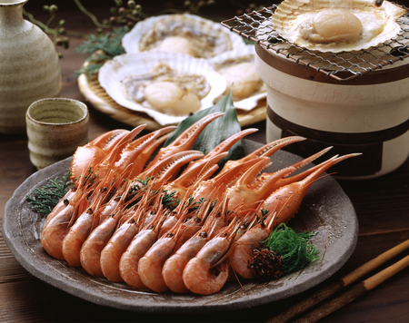 Claws and the Katakara scallops in sweet Toka shrimp Stok Fotoğraf