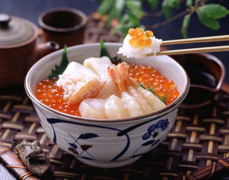 Mariscos tazón de arroz Foto de archivo - 49666373