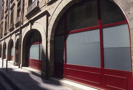 street corner: Red windows street corner