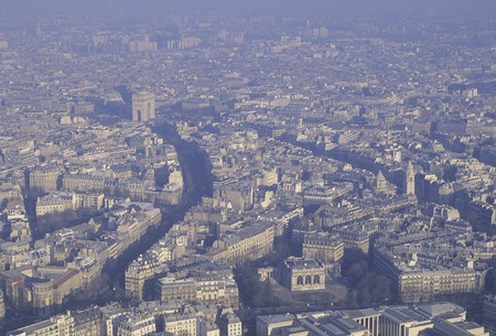 i hope: I hope the Arc de Triomphe from the Eiffel Tower Stock Photo