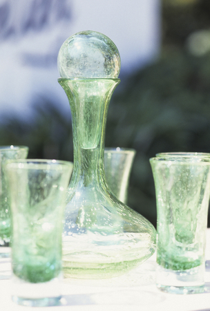 blown: Blown glass pitcher blown glass pitcher