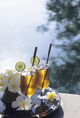 poolside: Poolside ice tea Stock Photo