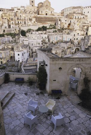 dwellings: Cave dwellings of the terrace Stock Photo