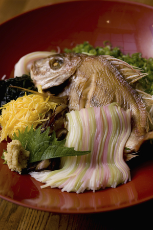 Grilled sea bream and your expression Somen Stock Photo