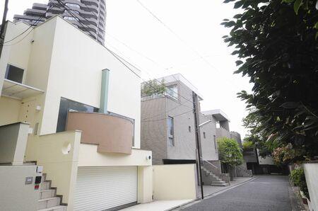 Takanawa 4-chome van woonwijk Stockfoto