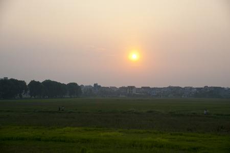 granary: Sunset over the granary Stock Photo